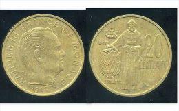 FRANCE  MONACO  20 Centimes 1962 - 1960-2001 Nouveaux Francs