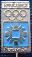 Yugoslavia Olympic Advertising Pin RANK XEROX Sarajevo 1984 Olympiad Sport - Olympic Games