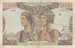 Billet 5000 F Terre Et Mer Du 3-11-1949 Alph. V.30 - 5 000 F 1949-1957 ''Terre Et Mer''