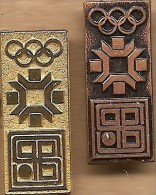 1984 Sarajevo Bank Gold And Bronze Olympic Sponsor Pin Set - Olympic Games