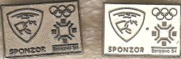 1984 Sarajevo Silver And White RC Olympic Sponsor Pin Set Of 2 - Olympic Games