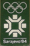 1984 Sarajevo Dark Green Olympic Games Mark Pin - Olympic Games