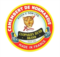 Ancienne Etiquette Fromage Camembert De Normandie  Leopard's Head Brand  Export - Formaggio