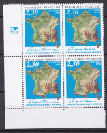 N° 2662 Cinquantenaire De L´Institut Géographique National: Carte De France: Bloc De 4 Timbres - Francia