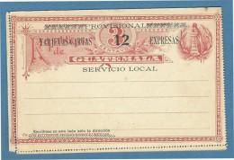 INTERO POSTALE CARD 3 C. SOPRASTAMPATO:PROVISIONAL TARJETAS CARTAS 12 C.EXPRESAS SERVICIO LOCAL - NUOVA - Guatemala