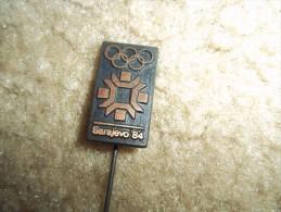 "1984 Sarajevo Winter Olympics 1 1/2"" Black Logo Stick Pin - Olympic Games"