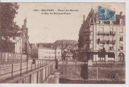CP BELFORT - Place Du Marché Et Rue Du Docteur Fréry - Belfort - Ville
