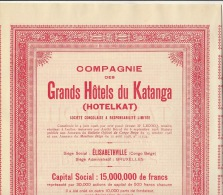 Lot 3 Actions Congo Afrique GRANDS HOTELS DU KATANGA HOTELKAT - Afrique