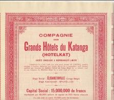 Lot 3 Actions Congo Afrique GRANDS HOTELS DU KATANGA HOTELKAT - Africa