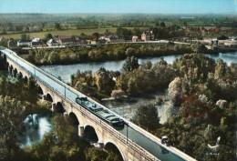58 GIMOUILLE  LE GUETIN PONT CANAL SUR L'ALLIER VUE AERIENNE PENICHE TRACTEUR - France