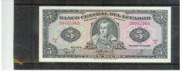ECUADOR   ,  22.11.1988  ,   5  Cinco  Sucres   ,   Pick# 113 D       ,    UNC - Ecuador