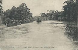 39Dd    Cote D'Ivoire Un Vapeur (bateau) Et Son Chaland En Riviere - Côte-d'Ivoire