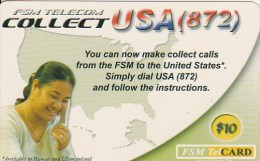 Micronesia, FSM-R-089, $10, FSM Telecom Collect USA, 2 Scans. - Micronésie