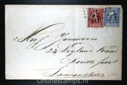 Nederland: NVPH Nr 7+8  Op Brief Rotterdam (PS 91) Naar Southport UK, 1871, Aankomststempel - Briefe U. Dokumente