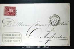Nederland: NVPH Nr 8 Op Cover Maastricht (PS 73) Naar Amsterdam, 1870, Aankomststempel Bezorgersstempel - Briefe U. Dokumente