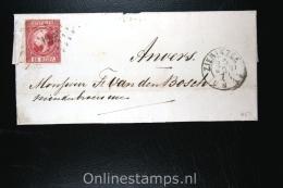 Nederland: NVPH  Nr 8  Op Brief Zierikzee (PS 132) Naar Antwerpen, Aankomststempel - Periodo 1852 - 1890 (Guglielmo III)
