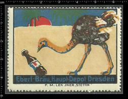 Old Original German Poster Stamp (advertising Cinderella, Reklamemarke) Eberl-bräu Bier Beer Bird Stauss Ostrich - Beers