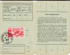 1949 - RARE YVERT PA N°27 SEUL SUR CARTE D´ABONNEMENT De BOURG EN BRESSE (AIN) - Poste Aérienne