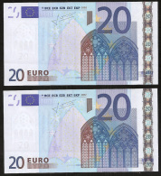 """Lot Two Consecutive Numbers Greece """"Y"""" 20  EURO GEM UNC! Trichet Signature! Printer N006F4 """"Y"""" - EURO"""