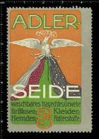 Old Original German Poster Stamp (cinderella, Reklamemarke) Adler Seide - Eagle Silk Textile Industry - Vignetten (Erinnophilie)