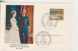 Berlin Vom 27.5.1965   König Elisabdeth II - Staatsbesuch In Deutschland   -- 7 Pfennig  (62) - FDC: Briefe