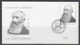 ENVELOPPE 1ER JOUR DE BELGIQUE - PORTRAIT DU ROI LEOPOLD II - Familles Royales