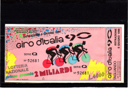 Giro D´Italia 1990 Con Tagliando - Biglietti Della Lotteria