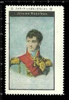 Old Original German Poster Stamp (advertising Cinderella, Reklamemarke) Jerome Napoleon - War Military Soldier - Famous People