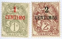 MAROCCO FRANCESE, FRENCH MOROCCO, 1908, FRANCOBOLLI USATI, Scott 11,12   YT 20,21 - Maroc (1891-1956)