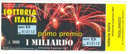 ITALIA 1986 - Con Tagliando - Biglietti Della Lotteria