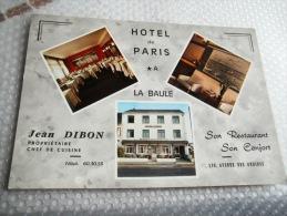 44 -  LA BAULE - HOTEL DE PARIS - JEAN DIBON - CARTE PUBLICITAIRE RESTAURANT - - La Baule-Escoublac