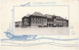 Osaka Japan, Osaka Hotel, Auto, Graphic Design, C1920s/30s Vintage Postcard - Osaka