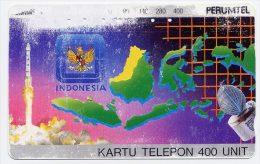 Télécarte 400 Unités Indonésie - Satellite Et Carte De L´Indonésie - Indonésie