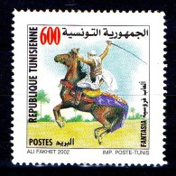 Tunisia Tunisie 2002  Good Stamp Very Fine MNH!  1 Timbre** Neuf Cheval Cavalier Parfait Etat - Tunisia