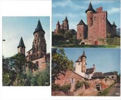 3 CPM - COLLONGES LA ROUGE (19) L'église Romane, Tours De L'église Et Chateau De Vassignac, Le Castel De Maussac - Ohne Zuordnung