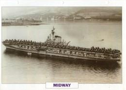 FICHE 25 X 18.5 CM PORTE-AVIONS LOURD US MIDWAY 1945 TBE - Boats