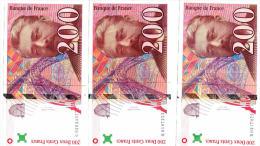 200 F Eiffel 1996  B,G,Q  3 Billets - 1992-2000 Last Series