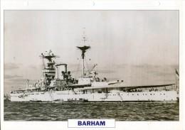 FICHE 25 X 18.5 CM CUIRASSE ANGLAIS GB BARHAM 1912 TBE - Boats