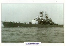 FICHE 25 X 18.5 CM CROISEUR NUCLEAIRE LANCE-MISSILES US CALIFORNIA 1971 TBE - Boats