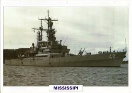 FICHE 25 X 18.5 CM CROISEUR NUCLEAIRE LANCE-MISSILES US MISSISSIPI 1976 TBE - Boats