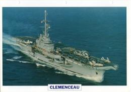 FICHE 25 X 18.5 CM PORTE-AVION LOURD FRANCAIS CLEMENCEAU 1957 TBE - Boats