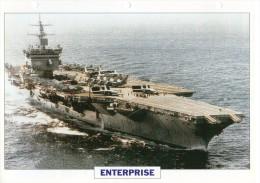FICHE 25 X 18.5 CM PORTE-AVIONS NUCLEAIRE US ENTERPRISE 1960 TBE - Boats