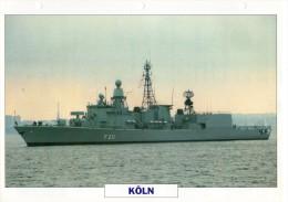 FICHE 25 X 18.5 CM FREGATE LEGERE ALLEMAND KOLN 1981 TBE - Boats