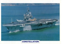 FICHE 25 X 18.5 CM PORTE-AVION LOURD US CONSTELLATION 1960 TBE - Boats