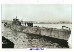 FICHE 25 X 18.5 CM SOUS-MARIN DE PREMIERE CLASSE FRANCAIS ARCHIMEDE 1930 TBE - Boats