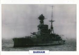 FICHE 25 X 18.5 CM CUIRASSE ANGLAIS GB BARHAM 1941 TBE - Boats