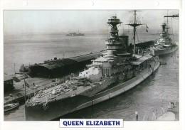 FICHE 25 X 18.5 CM CUIRASSE QUEEN ELIZABETH ANGLAIS GB 1913 TBE - Boats