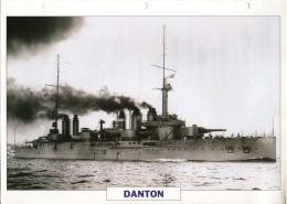 FICHE 25 X 18.5 CM CUIRASSE FRANCAIS DANTON 1906 TBE - Boats