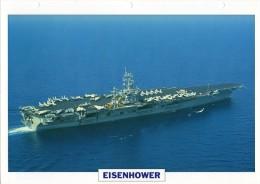 FICHE 25 X 18.5 CM PORTE-AVIONS NUCLEAIRE US EISENHOWER 1975 TBE - Boats