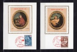 """2 Cartes Maximum En Soie De 1969 N° Y&T 1619 1620 """" CROIX-ROUGE 1969 : MIGNARD """". Obl. AVIGNON + Prix Dégressif. CM"""